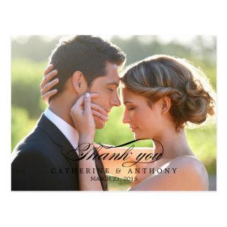Pure Elegance Wedding Thank You Card - Black Postcard