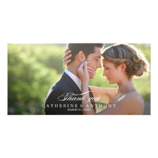Pure Elegance Wedding Thank You - White Customized Photo Card
