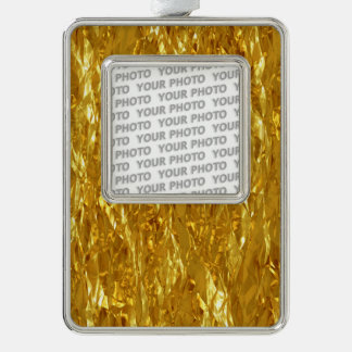 PURE GOLD FOIL Pattern + your text / photo Silver Plated Framed Ornament