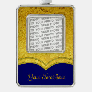 PURE GOLD LEAF Border + your text / photo Silver Plated Framed Ornament