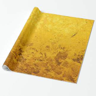 PURE GOLD LEAF Pattern + your text / photo Wrapping Paper