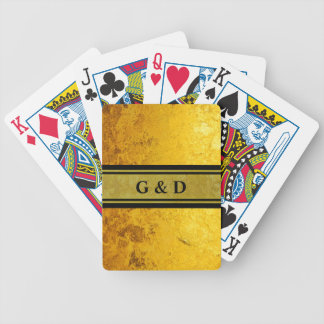PURE GOLD pattern / gold leaf + your text Bicycle Playing Cards