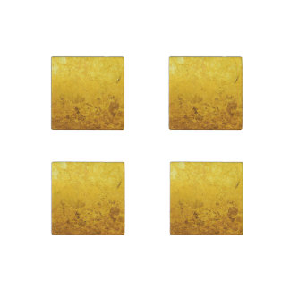 PURE GOLD pattern / gold leaf + your text / image Stone Magnet