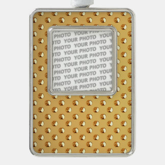 PURE GOLDEN PEARLS Pattern + your text / photo Silver Plated Framed Ornament