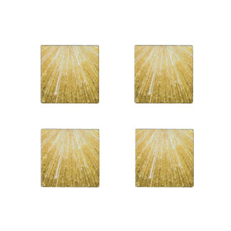 PURE GOLDEN shower Pattern + your text / image Stone Magnet