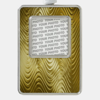 PURE GOLDEN WAVES Pattern + your text / photo Silver Plated Framed Ornament