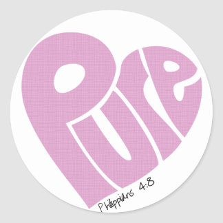 PURE Heart Pink Classic Round Sticker