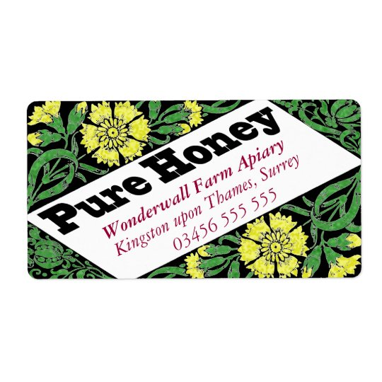 Pure Honey Yellow Flowers Shipping Label