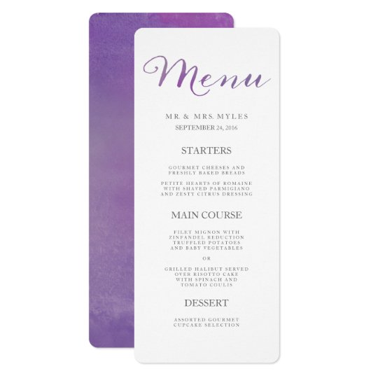 Pure Love Watercolor Wedding Menu / Violet Card
