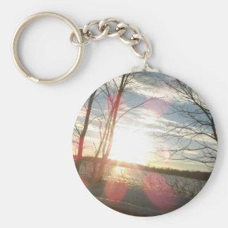 pure michigan sunset basic round button key ring