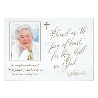 Pure Of Heart Funeral Thank You Card