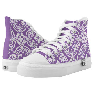 Pure Purple Damask Pattern by Orchard Three Printed Shoes