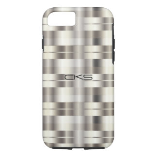 Pure Silver Stripes | Monogrammed iPhone 7 Case