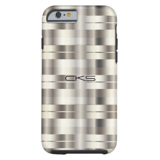Pure Silver Stripes | Monogrammed Tough iPhone 6 Case
