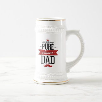 Pure Super Dad Moustache Red and Black Beer Stein