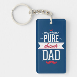 Pure Super Dad Moustache Red and White Double-Sided Rectangular Acrylic Key Ring