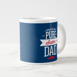 Pure Super Dad Moustache Red and White Jumbo Mugs