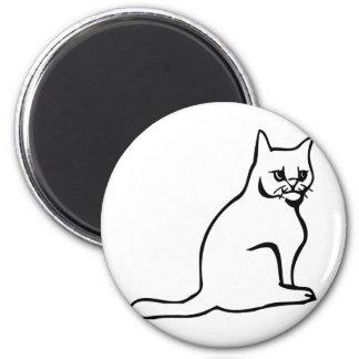 Pure White Cat Sitting Refrigerator Magnet