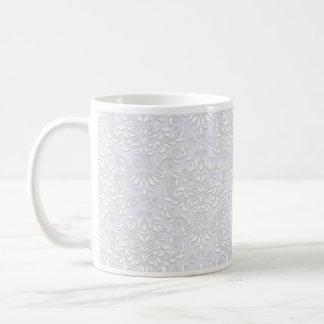 Pure White damask pattern on Violet texture Basic White Mug