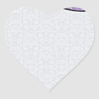 Pure White damask pattern on Violet texture Heart Sticker