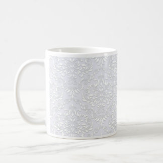 Pure White damask pattern on Violet texture Mugs