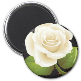 Pure White Rose 6 Cm Round Magnet