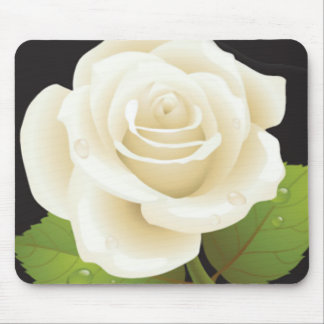 Pure White Rose Mouse Pad
