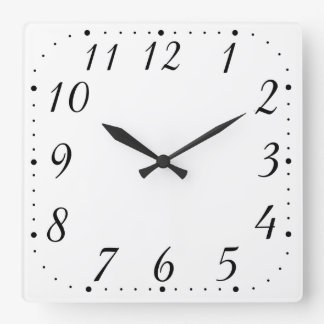 Pure White Square Clock