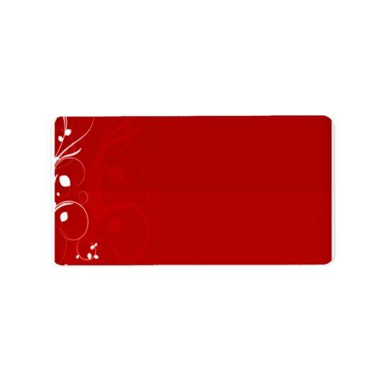Pure white swirl on reddish background address label