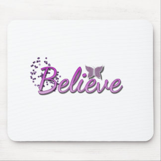 Purle Believe Butterfly glitter Mouse Mat