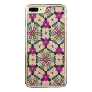Purpel blue white checked floral pattern No11 Carved iPhone 8 Plus/7 Plus Case