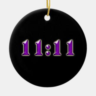 Purple 11:11 Numbers Round Ceramic Decoration