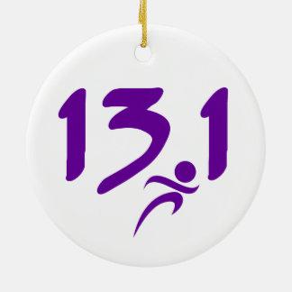 Purple 13.1 half-marathon christmas ornament