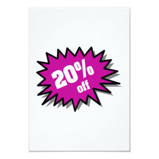 Purple 20 Percent Off 9 Cm X 13 Cm Invitation Card