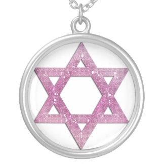 Purple 2 Glitter Star of David Necklace Design