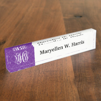 Purple 2 Tone Damask #3 Vine Script Monogram Name Plate
