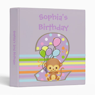 Purple 2nd Birthday Monkey and Balloons Binder