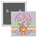 Purple 2nd Birthday Monkey and Balloons Button