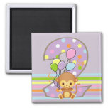 Purple 2nd Birthday Monkey and Balloons Magnet