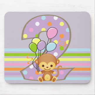 Purple 2nd Birthday Monkey and Balloons Mousepad