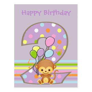 Purple 2nd Birthday Monkey and Balloons Postcard