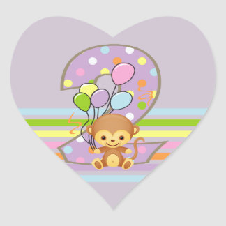 Purple 2nd Birthday Monkey and Balloons Stickers