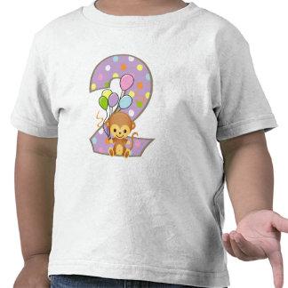 Purple 2nd Birthday Monkey and Balloons T-Shirt