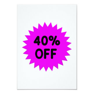 Purple 40 Percent Off 9 Cm X 13 Cm Invitation Card