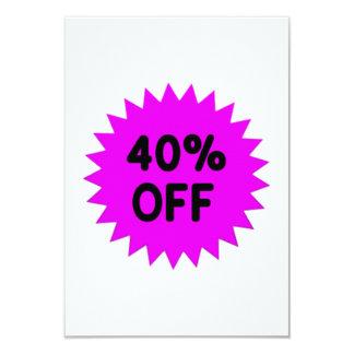Purple 40 Percent Off 9 Cm X 13 Cm Invitation Card
