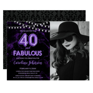 Purple 40th Birthday Party  - 40 & Fabulous Card