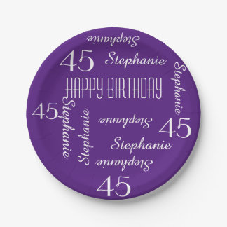 Purple 45th Birthday Party Repeating Names 7 Inch Paper Plate