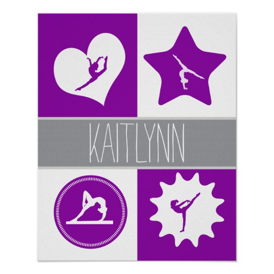 Purple 4 Squares Gymnastics with Monogram Poster