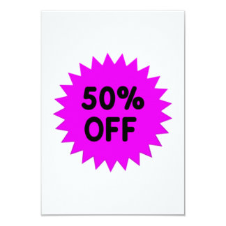 Purple 50 Percent Off 9 Cm X 13 Cm Invitation Card
