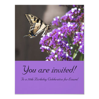 Purple 50th Birthday Invitation with Butterfly